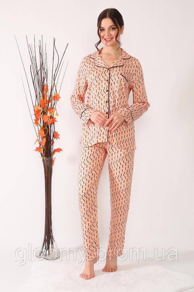 Піжама Pelin піжамний костюм Love персик S