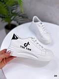 ТІЛЬКИ 25 см! Жіночі кросівки білі Tik Tok еко-шкіра весна / літо/ осінь, фото 3