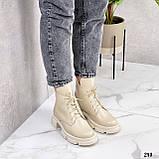 Женские ботинки ДЕМИ бежевые натуральная кожа весна/ осень, фото 6
