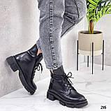 Женские ботинки ДЕМИ черные на шнурках натуральная кожа, фото 6
