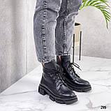 Женские ботинки ДЕМИ черные на шнурках натуральная кожа, фото 7