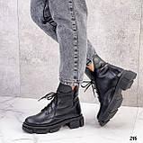 Женские ботинки ДЕМИ черные на шнурках натуральная кожа, фото 8