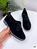 ТОЛЬКО 38, 41 р!!! Женские туфли черные на шнуровке натуральная замша, фото 2