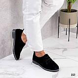 ТОЛЬКО 38, 41 р!!! Женские туфли черные на шнуровке натуральная замша, фото 4