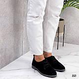 ТОЛЬКО 38, 41 р!!! Женские туфли черные на шнуровке натуральная замша, фото 8