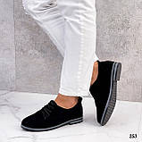 ТОЛЬКО 38, 41 р!!! Женские туфли черные на шнуровке натуральная замша, фото 9
