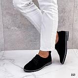 ТОЛЬКО 38, 41 р!!! Женские туфли черные на шнуровке натуральная замша, фото 10