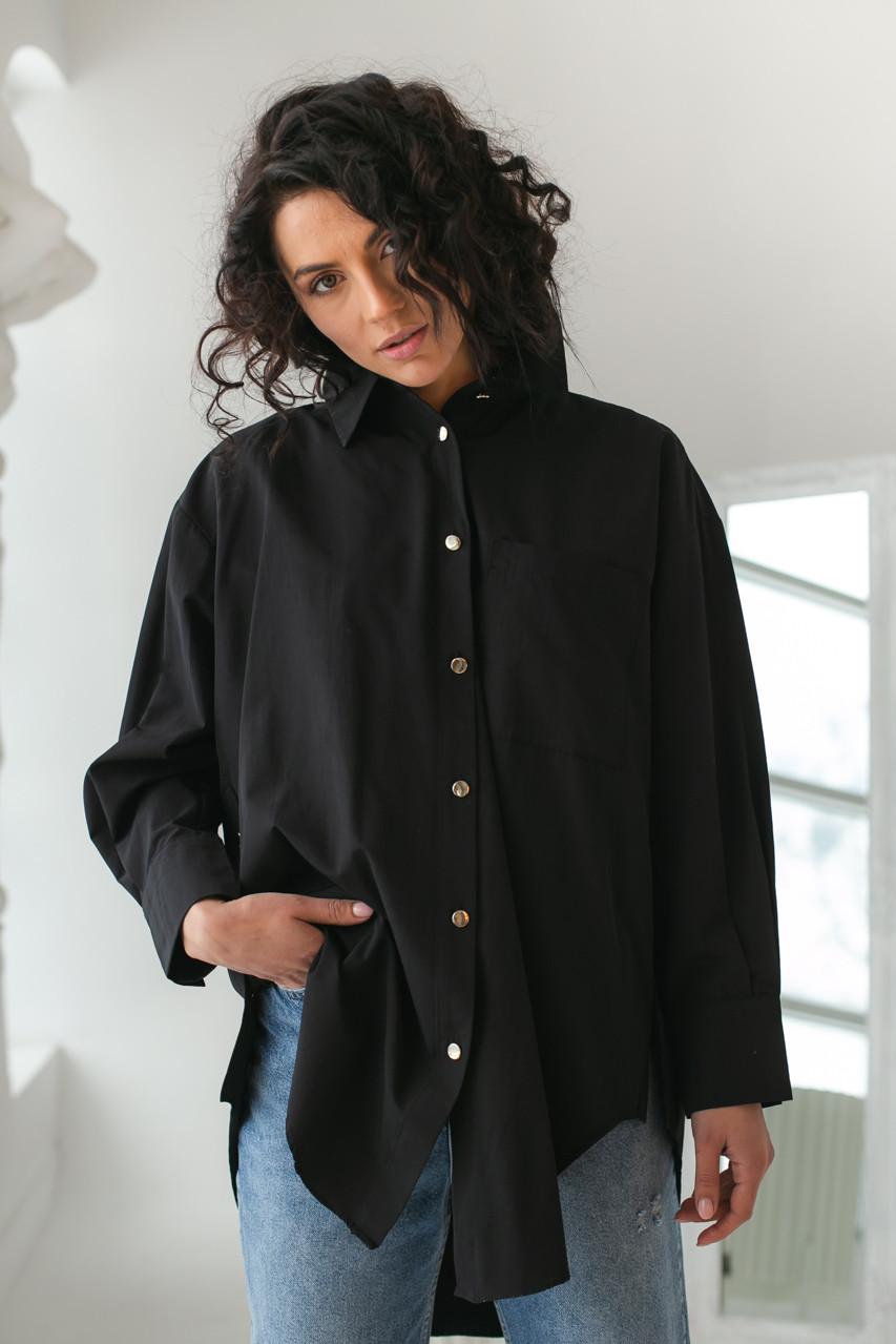 Женская рубашка с металлическими пуговицами Clew - черный цвет, S (есть размеры)