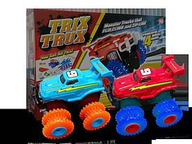 Ігровий набір 2 машини Trix Trux LP100 канатний дитячий монстр-трак Червоний/Блакитний (hubber-260)