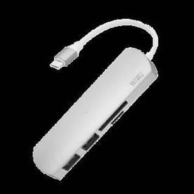 USB-хаб адаптер WIWU 4 in 1 Adapter T2 USB-C to microSD + SD + 2 x USB 3.0 Сірий (hub_QbiI54485)