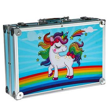 Набор для творчества в алюминиевом чемодане Единорог 145 предметов Голубой (B145EEE)