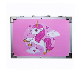 Набор для творчества в алюминиевом чемодане Единорог 145 предметов Розовый (P145EEE)