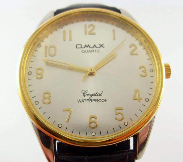 c2bea453 Мужские наручные часы Omax KC3243 золотистого цвета с черным ремешком.