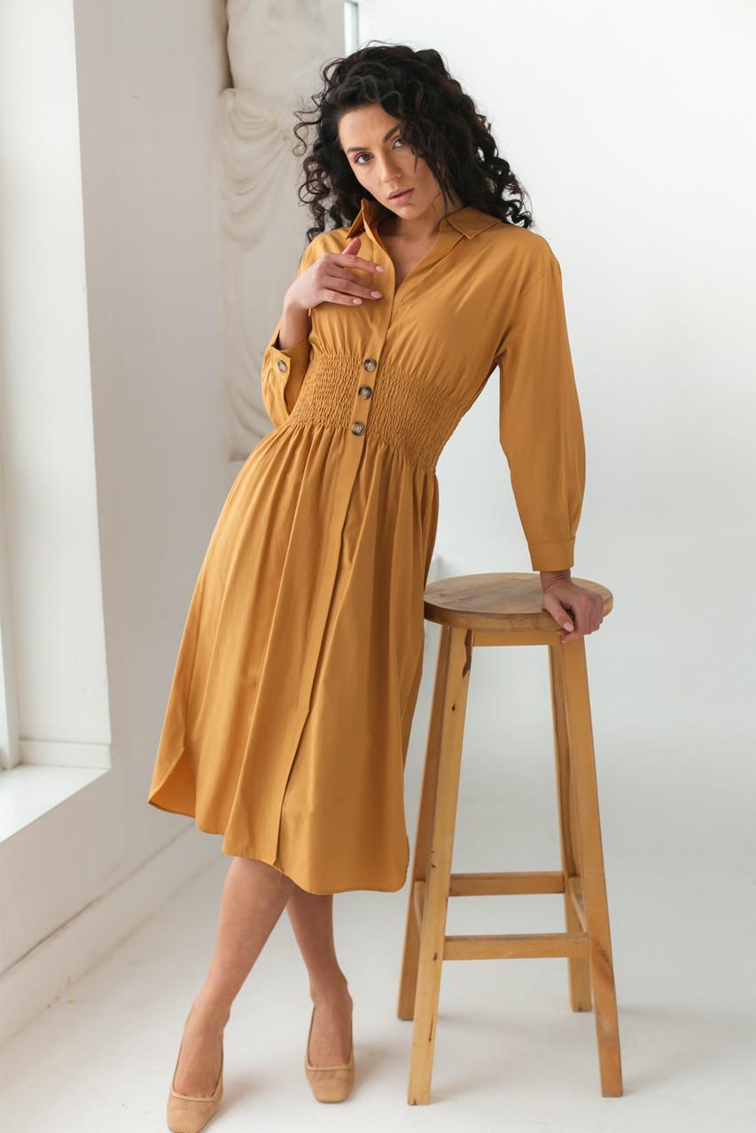 Сукня з вафельної гумкою по талії Barley - св-коричн колір, M (є розміри) S