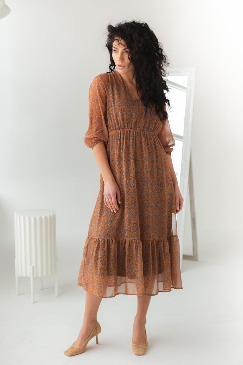 Шифоновое платье на резинке с воланом Clew - горчичный цвет, L (есть размеры)