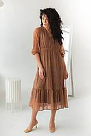 Шифоновое платье на резинке с воланом Clew - горчичный цвет, L (есть размеры), фото 1
