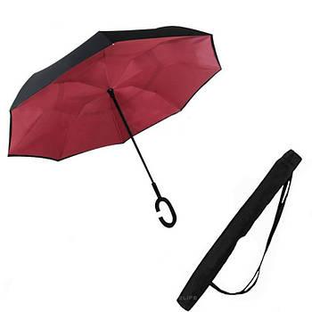 Зонт обратного сложения + чехол Up-brella Wine Red (vol-75)