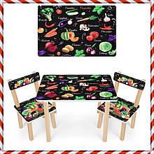 Детский деревянный столик и 2 стульчика Овощи 501-112 (EN)