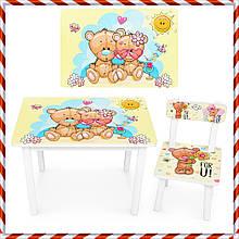 """Детский деревянный столик и стульчик """"Мишки"""" BSM2K-34M для детей от 1 года"""
