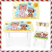 """Детский деревянный столик и стульчик """"Малыш и мишка"""" BSM2K-06 для детей от 1 года"""