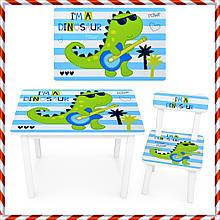 """Детский деревянный столик и стульчик """"Дино"""" BSM2K-86 для детей от 1 года"""