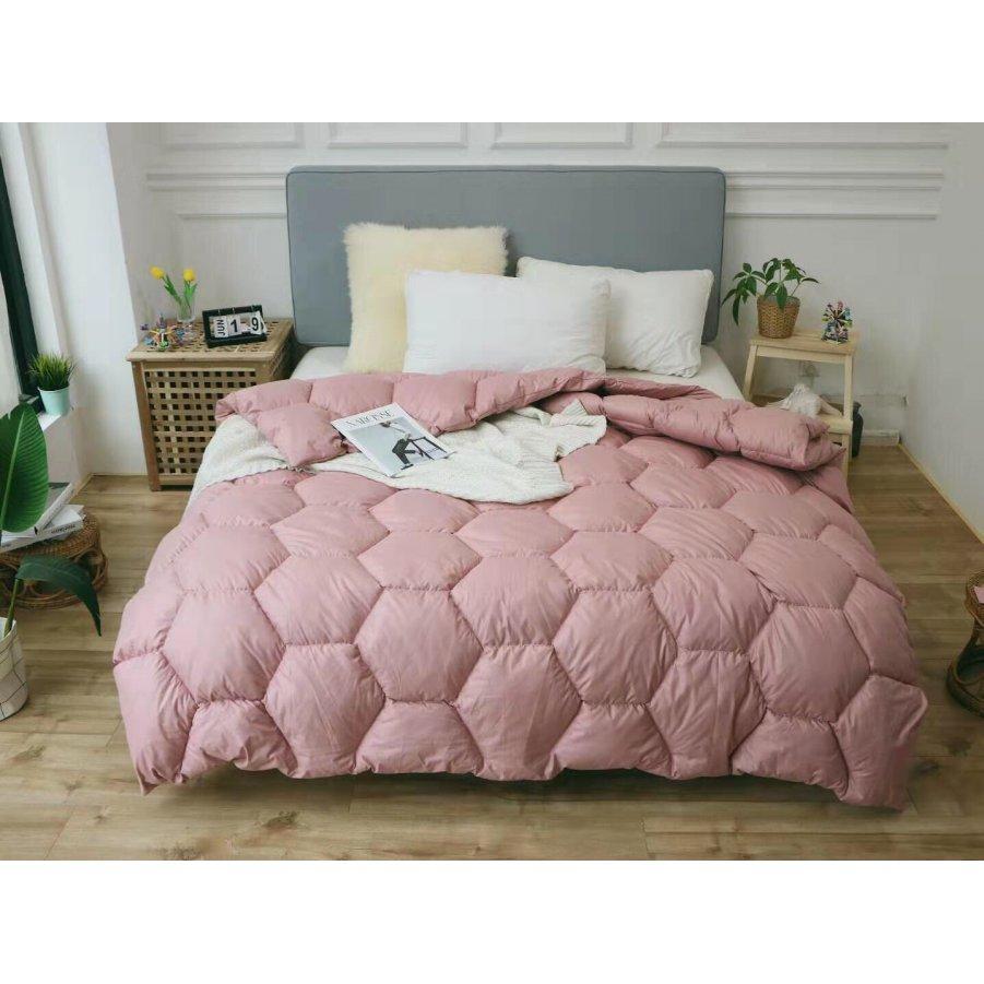 Одеяло зима ткань Микрофибра наполнитель Холлофайбер - Соты - 175х210 (персик)