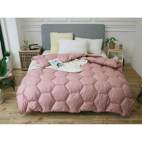 Одеяло зима ткань Микрофибра наполнитель Холлофайбер - Соты - 175х210 (персик), фото 2