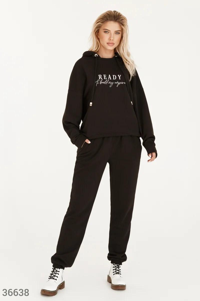 Черный спортивный костюм с вышивкой S-M,L-XL,2XL-3XL