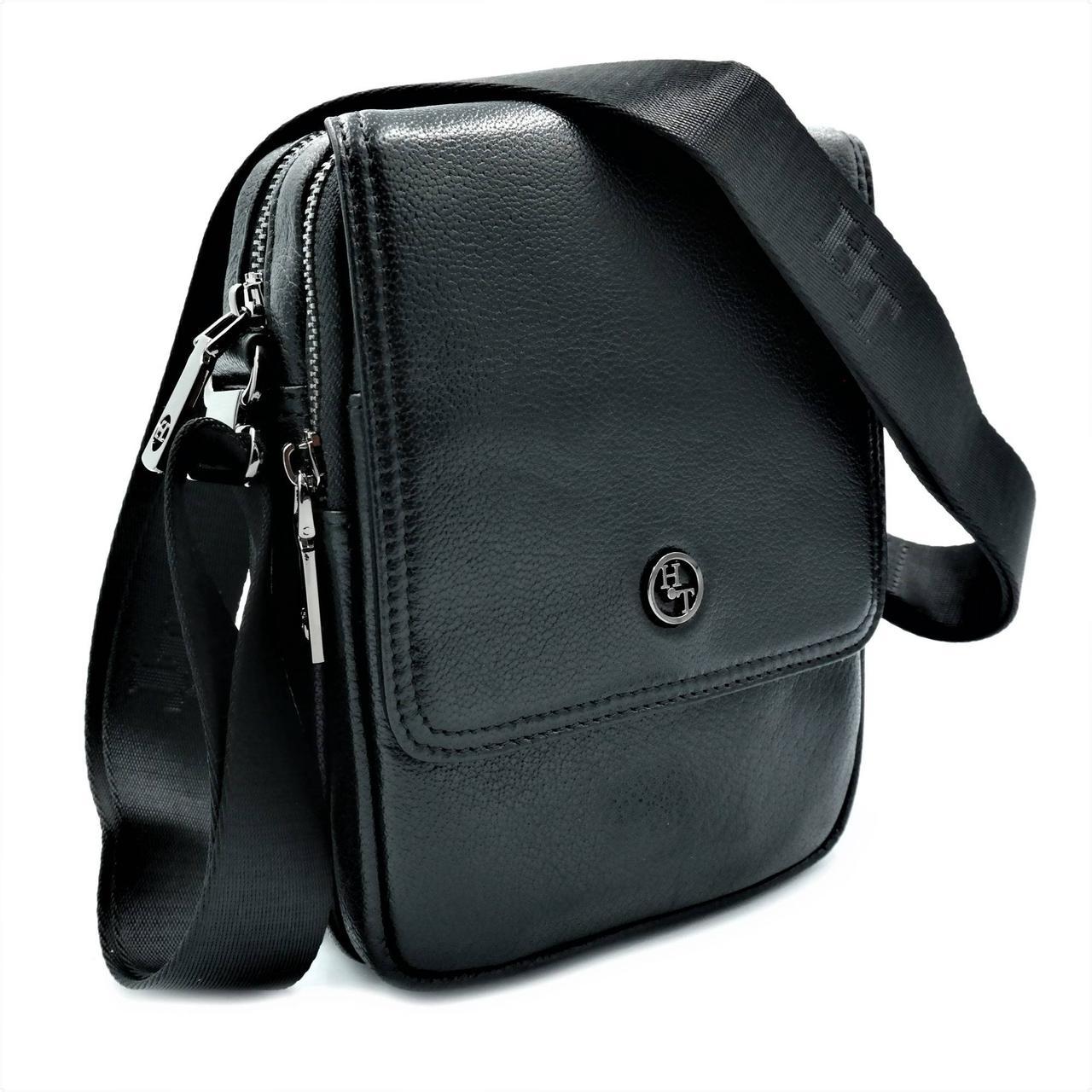 Мужская кожаная сумка H.T.Leather Черный (2000-9)