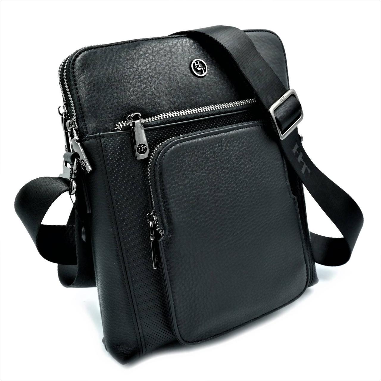 Мужская кожаная сумка H.T.Leather Черный (5499-3)