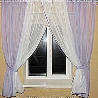 Комплект кухонные шторки с подвязками №17 Цвет сиреневый с белым