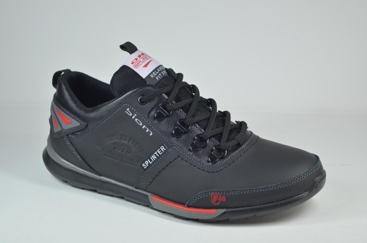 Мужские кожаные кроссовки черные Splinter 9816