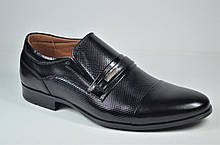 Мужские кожаные туфли с тиснением черные Havryshko 413