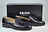 Чоловічі шкіряні туфлі лофери чорні IKOS 010 - 1, фото 2