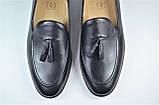 Чоловічі шкіряні туфлі лофери чорні IKOS 010 - 1, фото 3