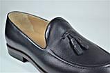Чоловічі шкіряні туфлі лофери чорні IKOS 010 - 1, фото 6