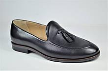 Мужские кожаные туфли лоферы черные IKOS 010 - 1