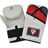 Кращі снарядні рукавички шкіра битки RDX Rex Red Leather білі з червоним, фото 2