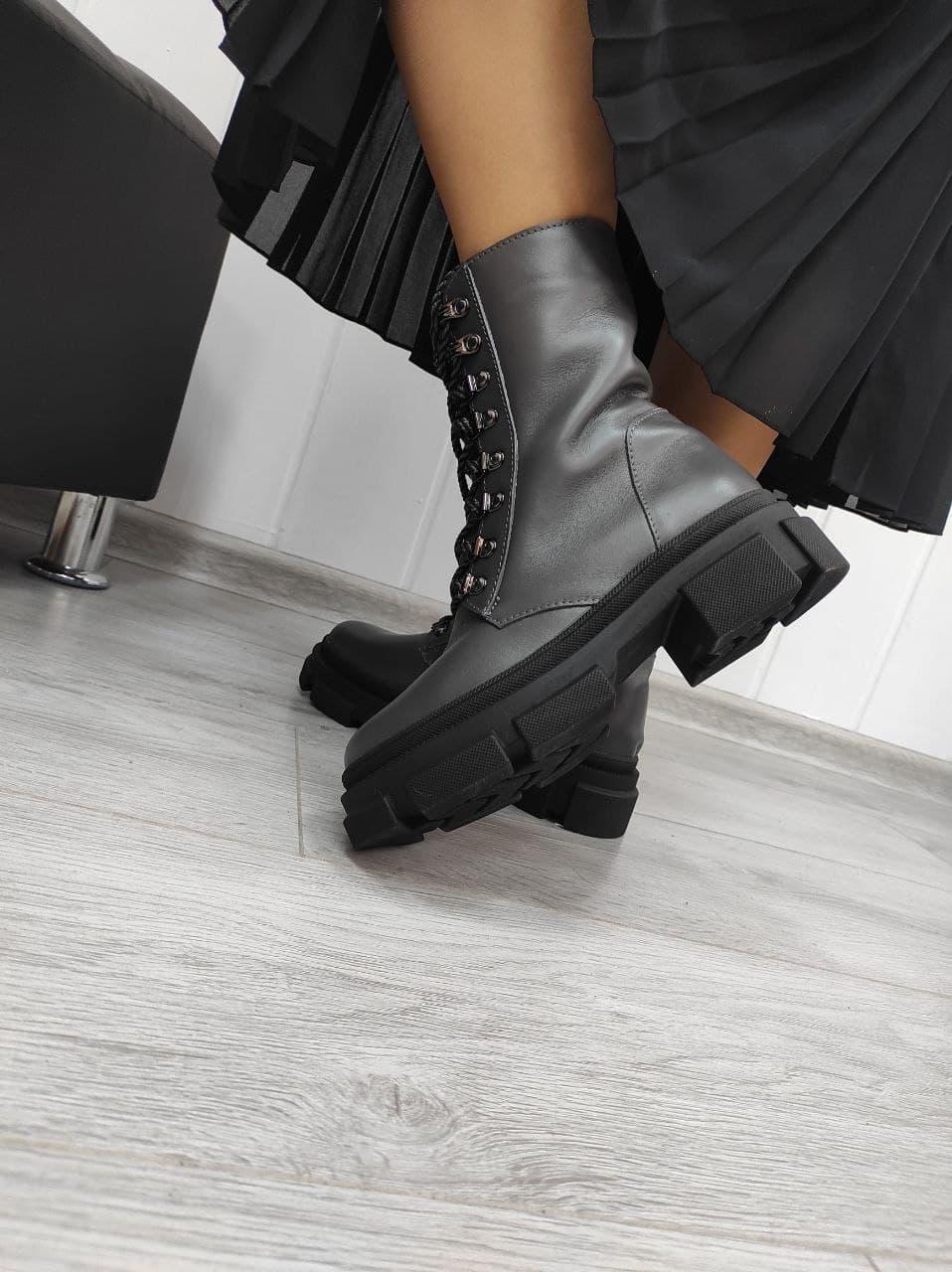 Стильні черевики з натуральної шкіри сірого кольору