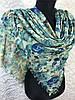Женский хлопковый зеленый платок с двух сторон разные рисунки