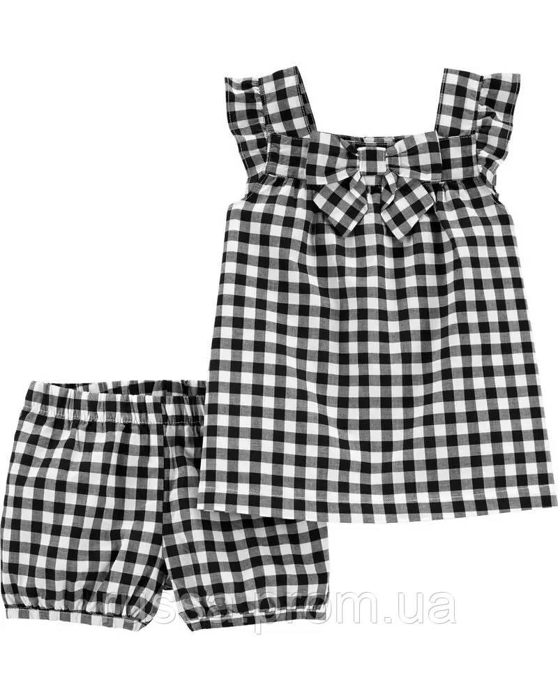 Черно-белый летний костюмчик - топ и шортики Картерс для девочки