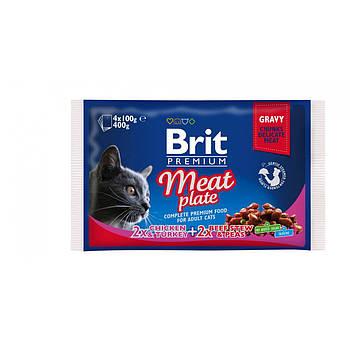 Влажный кормов Brit Premium Cat MEAT PLATE для кошек, 4 штх100 г