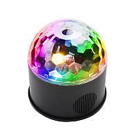 Диско шар EKOOT M-M09 MINI LED Bluetooth 9 цветов хрустальный светомузыка с пультом ДУ