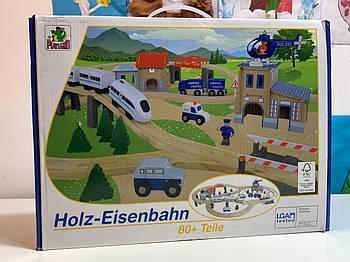 Дерев'яна залізниця Holz-Eisenbahn із відділенням поліції 80 елементів