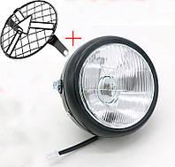 Мото фара головного світла, D005,40 W, Cafe Racer, Bobber, Custom, 12 V, + решітка Тип 2