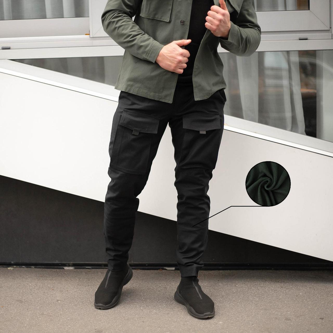 Мужские зимние черные брюки карго