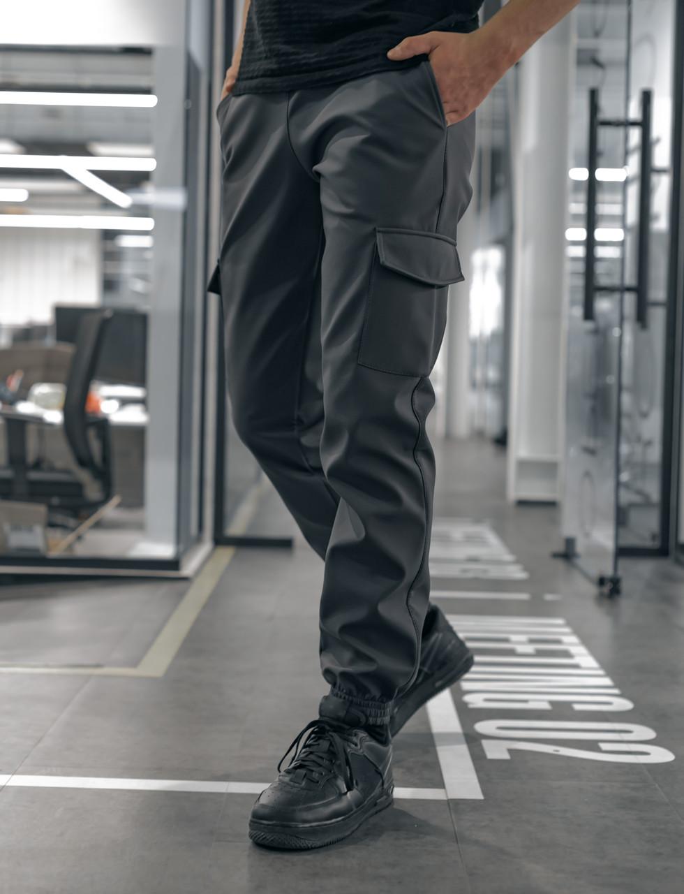 Мужские серые теплые штаны Карго на флисе с карманами