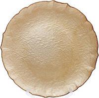 Блюдо сервировочное Gold Paper декоративное Ø33см, подставная тарелка, стекло, фото 1