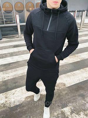 Спортивний костюм чоловічий чорний з капюшоном теплий на флісі худі + штани Туреччина