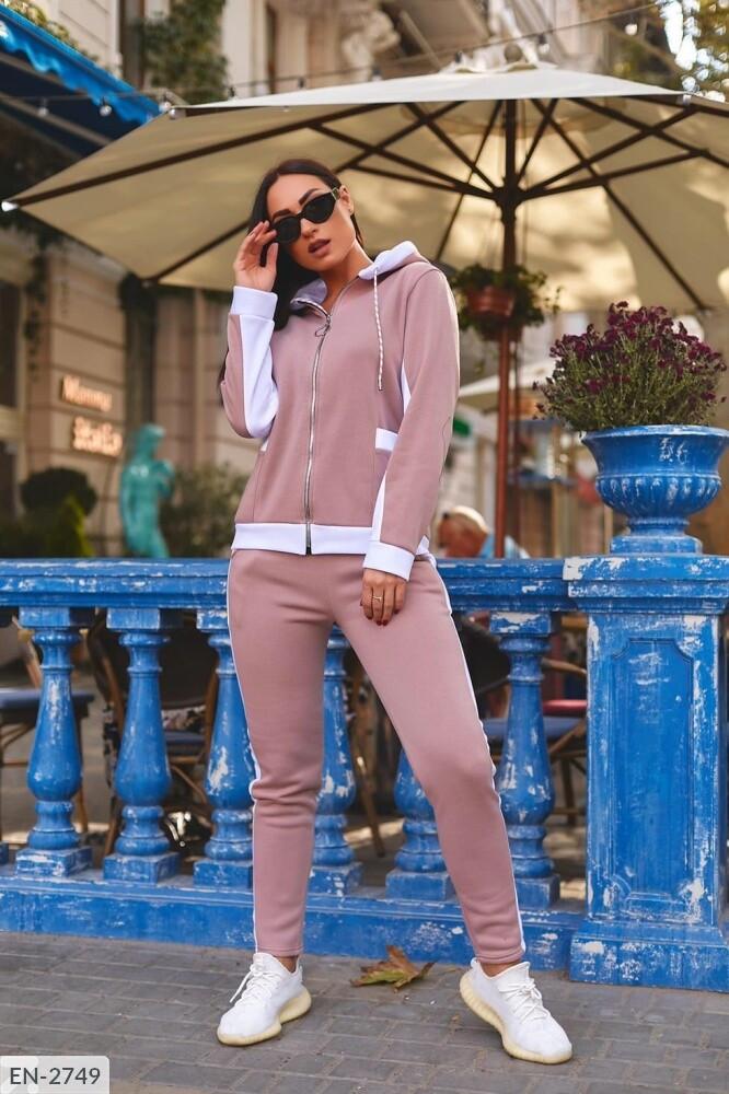 Теплый спортивный женский костюм на флисе (Батал)